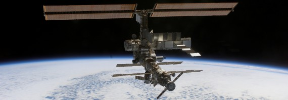 The International Space Station as seen from the Space Shuttle Atlantis at 8:13am CDT on October 16, 2002-- click to see larger photo