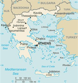 Greece map, from the CIA World Factbook