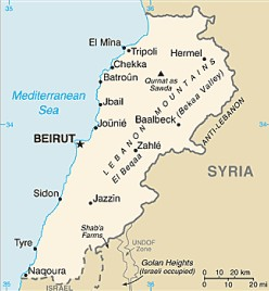 Lebanon map, from the CIA World Factbook