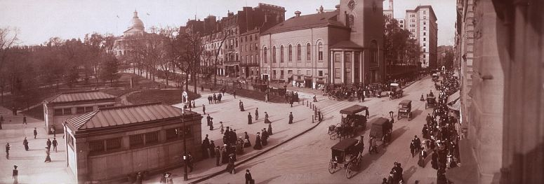 Tremont Street in 1903 or earlier, looking northeast. On the left are entrances to the Park Street subway station at Boston Common and the Park Street Church... click to see Boston photos at the Library of Congress
