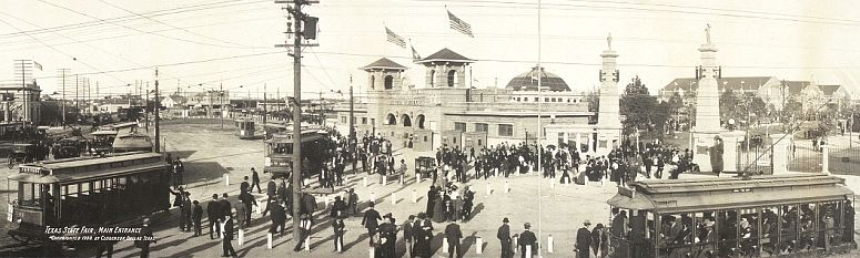 Street cars at the main entrance to the Texas State Fair in Dallas in 1908... click to see Dallas photos at the Library of Congress