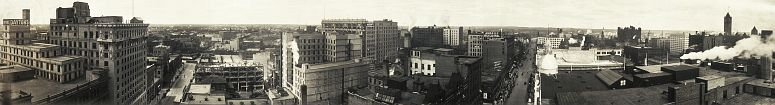 Minneapolis skyline from Nicollet and 7th Ave. on August 23, 1911... Daytons is the building on the left... click to see Minneapolis photos at the Library of Congress