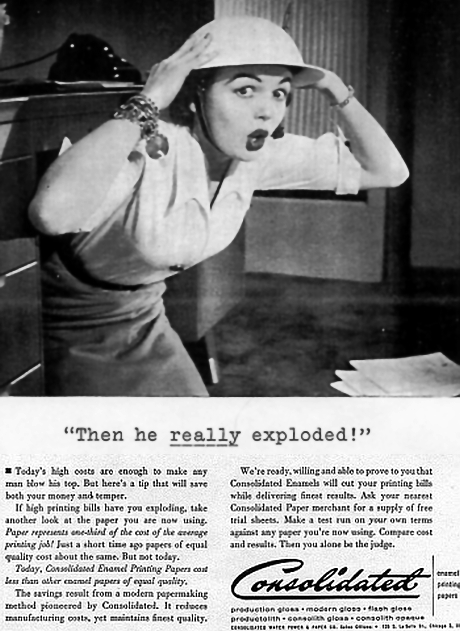 Consolidated Paper advertisement from Time Magazine, January 31, 1955... sorry, no larger image available at this time