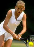 Anna in a tournament in 1995. Although the BBC did not specify which tourney, the Wimbledon juniors seems likely.