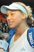 Anna being interviewed by Russian TV after defeating Marie-Gaianeh Mikaelian on Tuesday, Oct. 1, 2002.