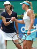 Anna and Janet Lee after defeating the Serra Zanetti sisters on Monday, Sept. 9, 2002.