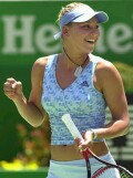 Anna celebrates after defeating Henrieta Nagyova in Melbourne on Monday, Jan. 13, 2003