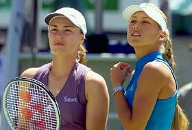 Martina Hingis and Anna Kournikova on 1/25/2002, click for news photo search