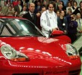 Martina Hingis with the Porsche 911 Carerra she won with the tournament title, on Sunday, October 12