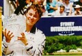 Martina Hingis with her 1997 Sydney International trophy