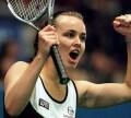 Martina after defeating Steffi Graf