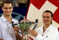 Roger Federer and Martina Hingis hold the Hopman Cup