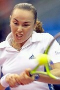 Martina Hingis vs Nadia Petrova. Perhaps her biggest upset, it fell on her 22nd birthday, Monday, Sept. 30, 2002.