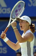 Martina Hingis after defeating Kim Clijsters