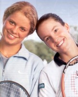 Unfortunately, I cannot recall where I found this photo, and I cannot find it again--click for Clijsters news photo search
