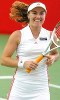 Martina during the 1st round win over Tiantian Sun and Ting Li on Tuesday