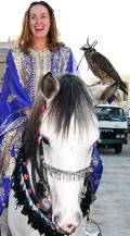Martina rode a horse while carrying a falcon in Doha on Tuesday, Feb 28