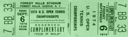 click to find tickets at Stub Hub-- Billie Jean King defeated Evonne Goolagong 3-6, 6-3, 7-5 in the 1974 US Open final... 1974 was the last year the US Open was played on grass, in 1975 green clay courts were installed at Forest Hills, and used until the tourney was moved to Flushing Meadows in 1978