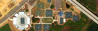 Family Circle Tennis Center on Daniel Island: 13 clay courts, 4 hard courts, all lighted for night play- click for interactive satellite photo